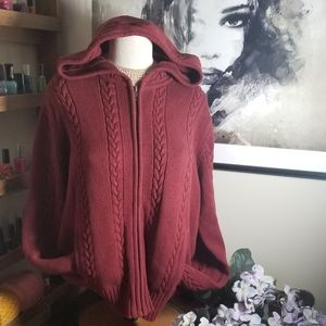 GAP cable knit zip sweater with hood